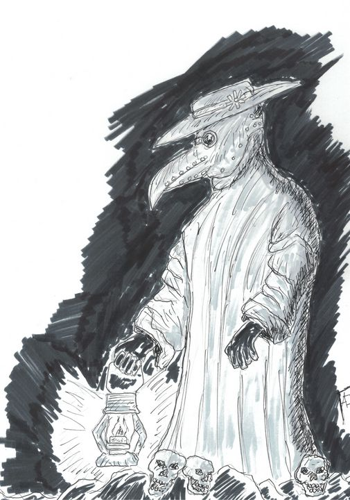 Plague Doctor Original Skech - Izzo Artworks (Anthony Izzo)