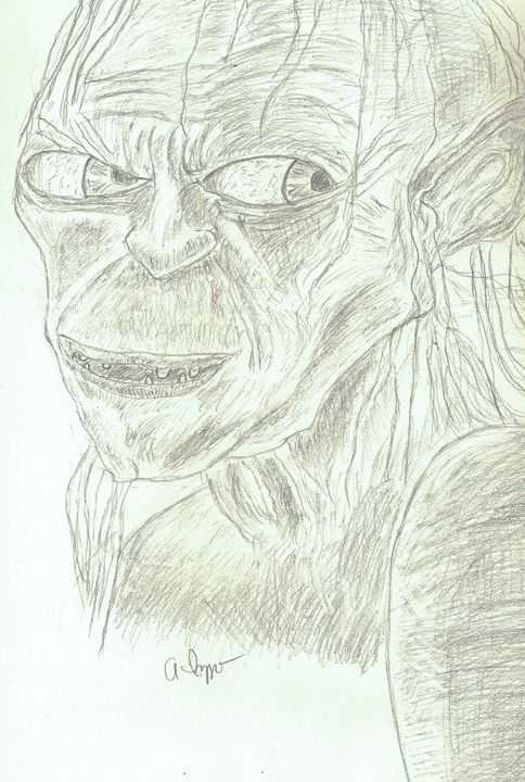 Original Gollum Pencil Sketch - Izzo Artworks (Anthony Izzo)