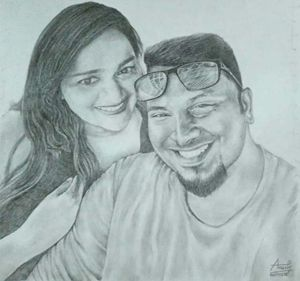 Pencil sketch of couples