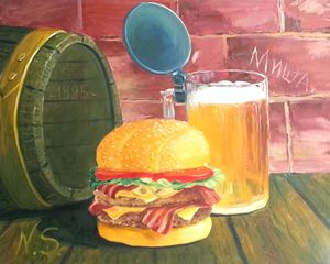 hamburger with beer!