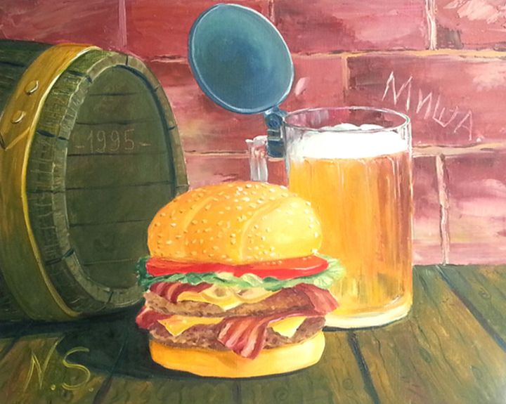 hamburger with beer! - Gallery arts for sale