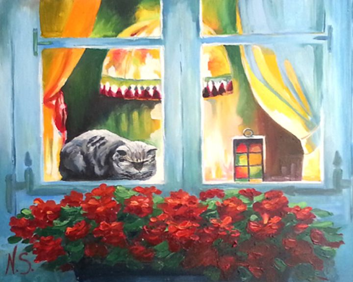 cat on a window - Gallery arts for sale