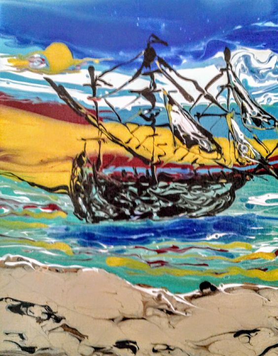 Pirate ship on the beach - Elly's Paintings