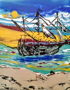 Pirate ship on the beach