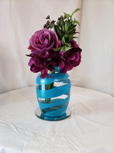 Aqua swirl vase