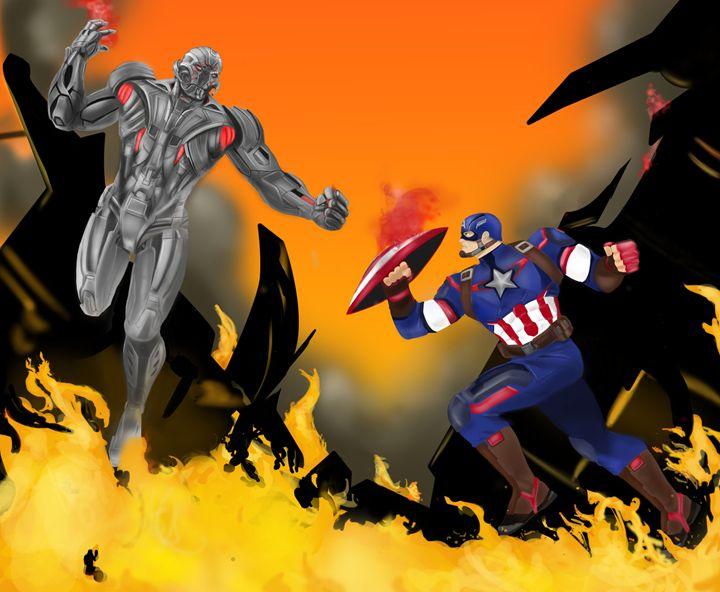 Captain America battles Ultron - Jose Rodarte