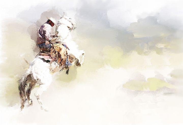 Rearing Horse &  Rider - Daniel