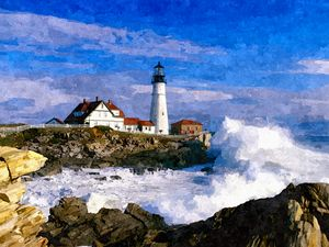 Lighthouse and Waves - William Butman