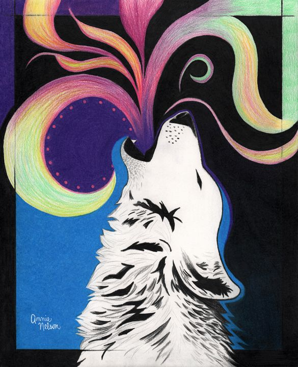 Howling Wolf - Annie's Colored Pencil Art