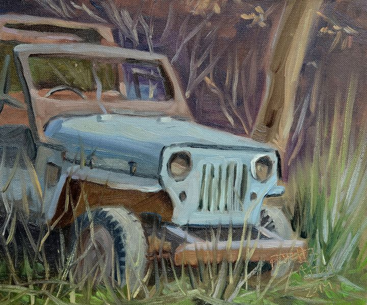 Old Jeep at Junkyard plein air paint - Jaspreet Singh Art