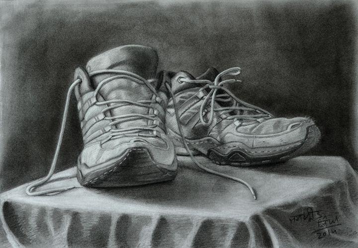 Running Shoes - Still Life - Jaspreet Singh Art