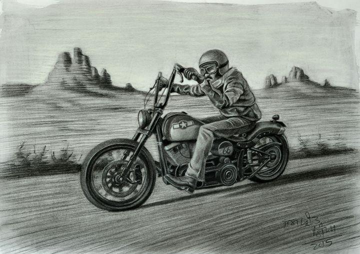 Harley on Route 66 - Jaspreet Singh Art