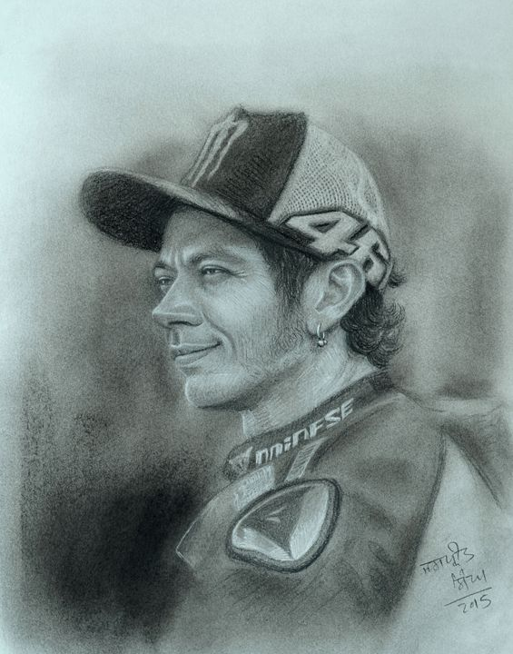 Valentino Rossi Portrait - Jaspreet Singh Art