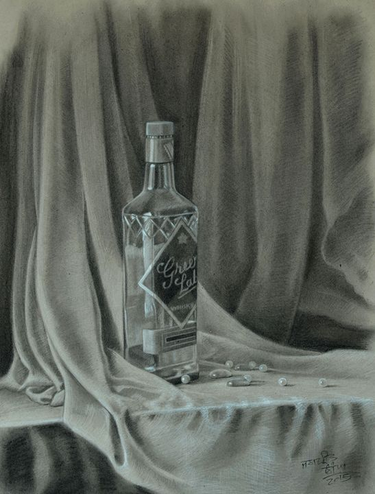 Empty Bottle still life - Jaspreet Singh Art
