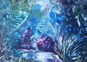 Water Cavern encaustic - Pat O'Neill