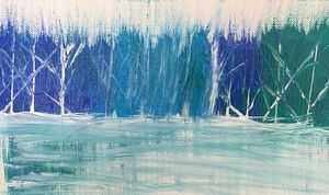 Abstract acrylic winter landscape
