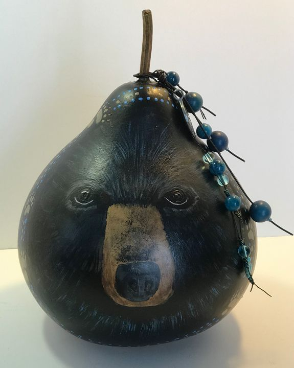Blueberry Bear 2 - LaDeDa Gourds - Karen L Caldwell