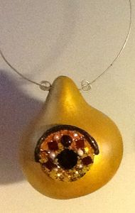 Golden Jeweled Birdhouse - LaDeDa Gourds - Karen L Caldwell