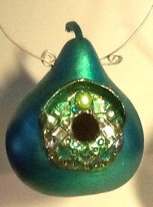 Green Jeweled Birdhouse - LaDeDa Gourds - Karen L Caldwell