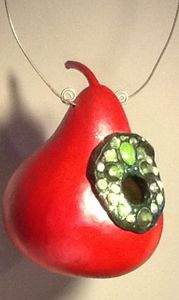 Red Jeweled Birdhouse - LaDeDa Gourds - Karen L Caldwell