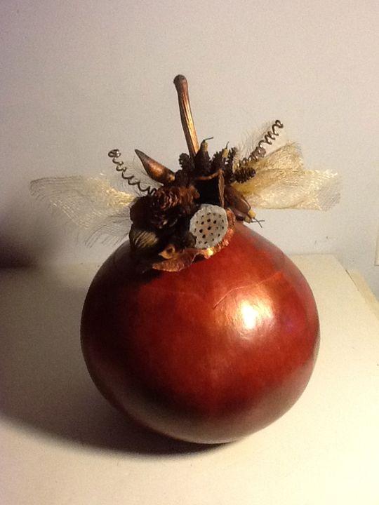 Autumn Bounty Lidded Gourd - LaDeDa Gourds - Karen L Caldwell