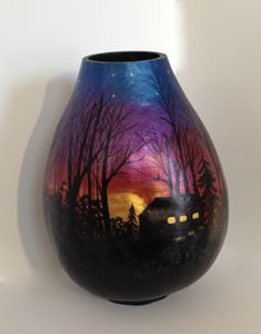Sunset Blaze - LaDeDa Gourds - Karen L Caldwell