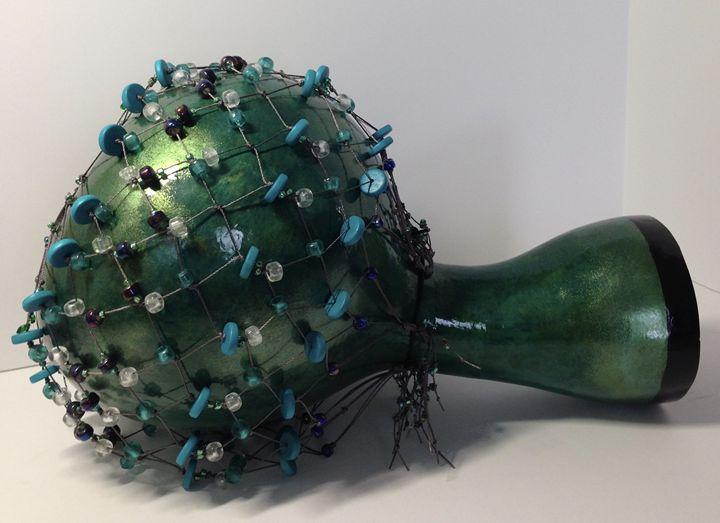 Shekere, Iridescent Greens - LaDeDa Gourds - Karen L Caldwell