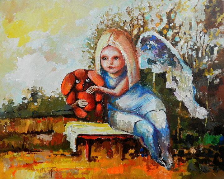 Angel and her bear - JolantaArt