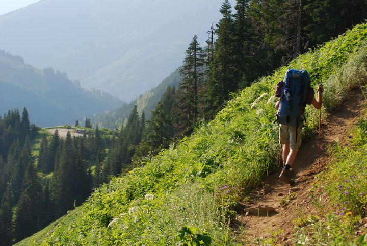 Backpacker on a Switchback - Wend Images Gallery