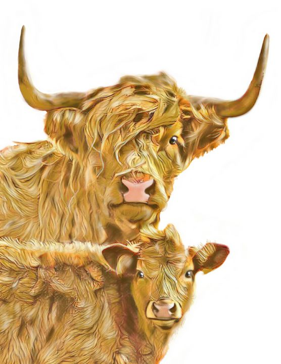 Long Haired Cow and Calf - Tomahto Art Studio