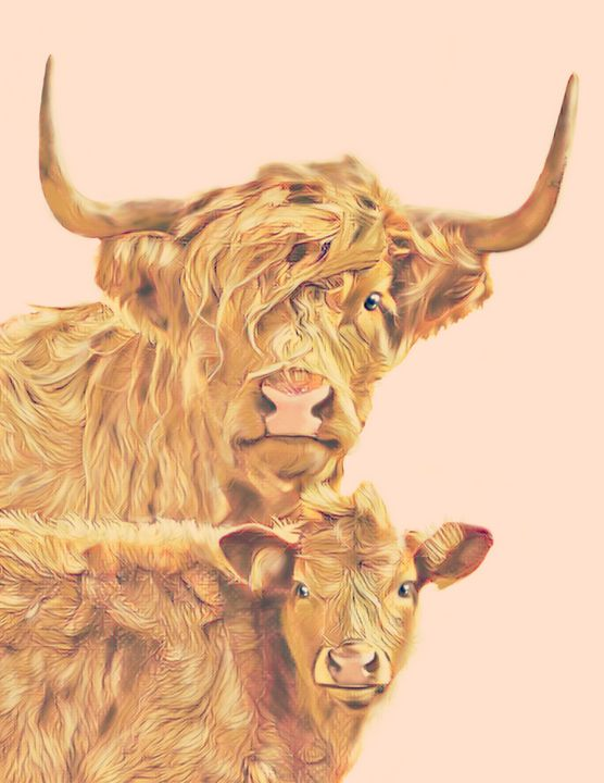 Long Haired Cow and Calf (Pink) - Tomahto Art Studio