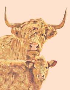 Long Haired Cow and Calf (Pink)