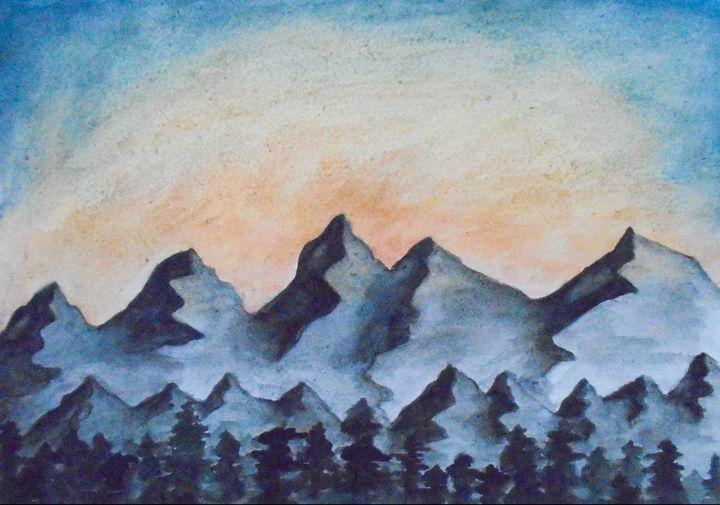 Sunset Over Mountain Range - Hannah Hodson
