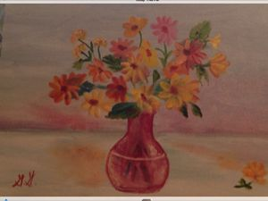 Daisies In A Cranberry Glass Vase