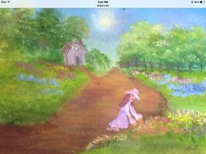 Girl On A Flower Garden Path