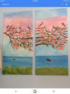 New Enland Bluebirds In A Tree