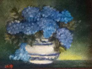 Blue Hydrangeas in Blue Willow Bowl