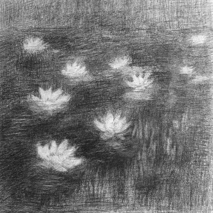 White lilies on the black water - Olha Gordiiuk