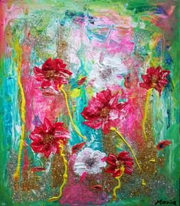 Flowers in the green - POWER MAGICAL PAINTING