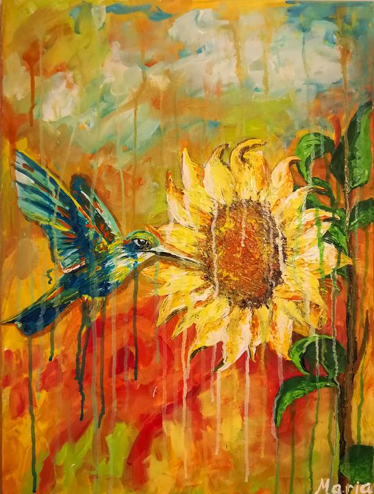 BIRD FLY SUN FLOWER - MARIA MAGIC ART