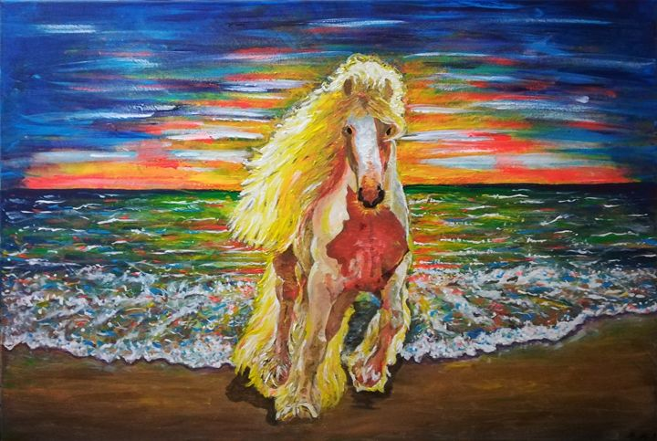 Horse in the beach - MARIA MAGIC ART