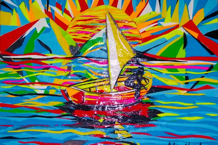 Landscape Sunset Boat Collage - MARIA MAGIC ART