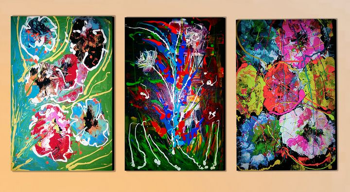 ABSTRACT FLOWERS 3 CANVAS - MARIA MAGIC ART