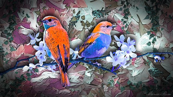 Birds in the land flowers - MARIA MAGIC ART