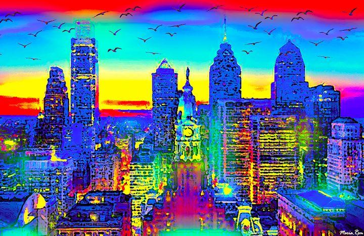 Philadelphia Skyline - MARIA MAGIC ART