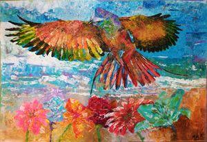 BIRD FLY UP THE FLOWERS - MARIA MAGIC ART