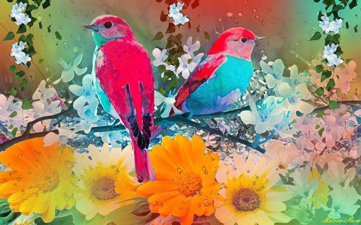 Birds on the garden - MARIA MAGIC ART
