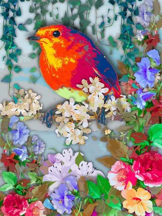 Bird under flowers - MARIA MAGIC ART