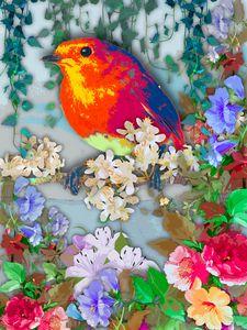 Bird under flowers