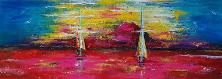 Seascape Sunset night - MARIA MAGIC ART